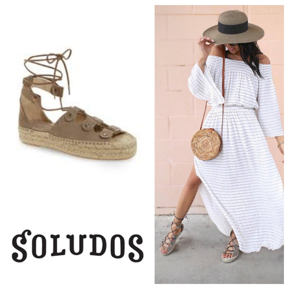 ce6d134bdf Soludos Shoes | Ghillie Sandals Espadrilles Lace Up 7 Gray | Poshmark